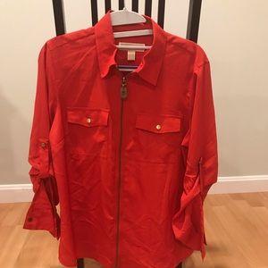 Michael Kors Orange Top w/zipper Size Med. NWT